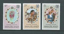 Swaziland 1981 Charles & Diana Royal Wedding Set 3 MNH - Swaziland (1968-...)