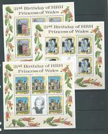 Maldives 1982 Princess Diana 21st Birthday Set Of 3 Sheetlets Of 5 Values + Label MNH - Maldives (1965-...)