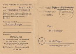 1949: Kgf Post, Stuttgart Nach Lauf, Hilfdienst, Rumänien Vermisst, Gebührenfrei - BRD