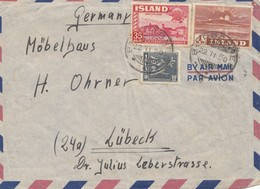 Island: 1950: Borgafirdi Luftpost Nach Lübeck - Island
