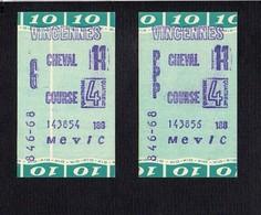 Ticket  De PMU (2)  / Pari Mutuel 4éme Course De Chevaux à Vincennes /  Cheval 11 Gagnant Et Placé - Toegangskaarten