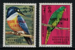 Nouvelles Hébrides // 1960-1980 // 1974 // Visite Royale Timbres Neufs** MNH No. Y&T 386-387 - Légende Française
