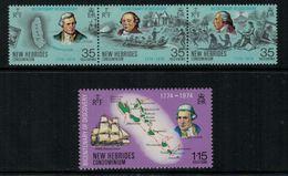 New Hebrides // 1960-1980 // 1974 // Bicentenaire De La Découverte Des Iles Timbres Neufs** MNH No. Y&T 398-401 - Légende Anglaise