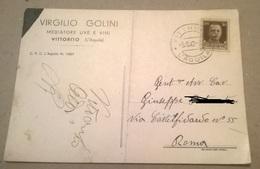 V. GOLINI MEDIATORE UVE E VINI VITTORITO L'AQUILA VIAGGIATA 1942    (597) - Pubblicitari