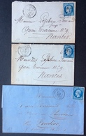 17 Finistère Pont-Aven + Pont-Aven + Morbihan Hennebont T 60 Et 60 Et 14 - Postmark Collection (Covers)