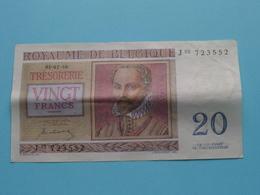 VINGT Francs TWINTIG Frank : J03 723552 ( Thesaurie / Trésorerie - Philippus De Monte ) 01-07-50 > Belgique/België ! - 20 Francs