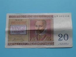 VINGT Francs TWINTIG Frank : L03 093328 ( Thesaurie / Trésorerie - Philippus De Monte ) 01-07-50 > Belgique/België ! - [ 6] Trésorerie