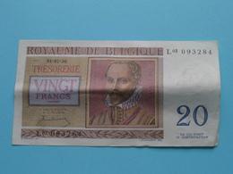 VINGT Francs TWINTIG Frank : L03 093284 ( Thesaurie / Trésorerie - Philippus De Monte ) 01-07-50 > Belgique/België ! - [ 6] Trésorerie