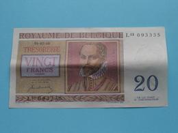 VINGT Francs TWINTIG Frank : L03 093335 ( Thesaurie / Trésorerie - Philippus De Monte ) 01-07-50 > Belgique/België ! - 20 Francs