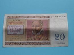 VINGT Francs TWINTIG Frank : L03 914813 ( Thesaurie / Trésorerie - Philippus De Monte ) 01-07-50 > Belgique/België ! - 20 Francs