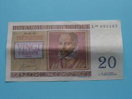VINGT Francs TWINTIG Frank : L03 093283 ( Thesaurie / Trésorerie - Philippus De Monte ) 01-07-50 > Belgique/België ! - [ 6] Trésorerie