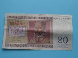 VINGT Francs TWINTIG Frank : O03 435380 ( Thesaurie / Trésorerie - Philippus De Monte ) 01-07-50 > Belgique/België ! - 20 Francs