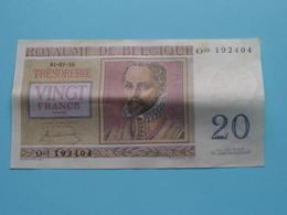 VINGT Francs TWINTIG Frank : O03 192404 ( Thesaurie / Trésorerie - Philippus De Monte ) 01-07-50 > Belgique/België ! - [ 6] Trésorerie