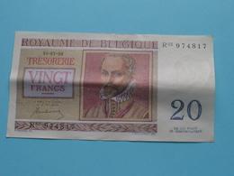 VINGT Francs TWINTIG Frank : R03 974817 ( Thesaurie / Trésorerie - Philippus De Monte ) 01-07-50 > Belgique/België ! - 20 Francs