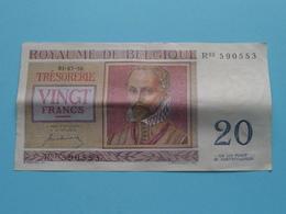 VINGT Francs TWINTIG Frank : R03 590553 ( Thesaurie / Trésorerie - Philippus De Monte ) 01-07-50 > Belgique/België ! - 20 Francs