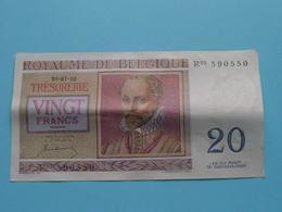 VINGT Francs TWINTIG Frank : R03 590550 ( Thesaurie / Trésorerie - Philippus De Monte ) 01-07-50 > Belgique/België ! - 20 Francs