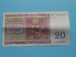 VINGT Francs TWINTIG Frank : R03 590552 ( Thesaurie / Trésorerie - Philippus De Monte ) 01-07-50 > Belgique/België ! - 20 Francs