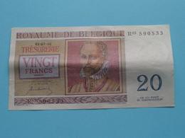 VINGT Francs TWINTIG Frank : R03 590533 ( Thesaurie / Trésorerie - Philippus De Monte ) 01-07-50 > Belgique/België ! - [ 6] Trésorerie