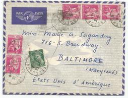 PAIX 1FR ROSE X5+25C MERCURE LETTRE AVION ARCACHON 1938 POUR USA AU TARIF - 1932-39 Paix