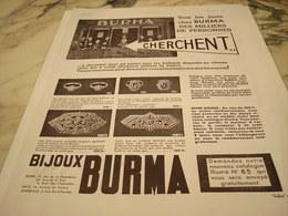 ANCIENNE PUBLICITE BIJOU DE   BURMA 1935 - Bijoux & Horlogerie