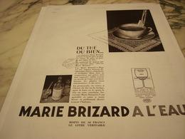 ANCIENNE PUBLICITE DU THE OU BIEN  MARIE BRIZARD A L EAU 1935 - Alcools