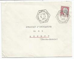 N°1263 LETTRE C. HEX MONT ST MARTIN ACIERIES 5.3.1963 Mthe ET Melle GERANCE - Postmark Collection (Covers)