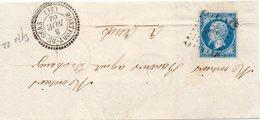 JOLIE LETTRE DE MONTFORT DU GERS   AVEC CACHET PERLE  PETITS CHIFFRES 3869 - 1853-1860 Napoléon III
