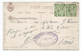 ENGLAND HALF PENNY X2 CARD OILETTE CHERBOURG MANCHE 1913 + POSTED ON THE HIGH SEAS - Postmark Collection (Covers)