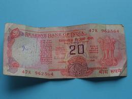 20 ( Twenty ) RUPEES : 47K 962564 ( Reserve Bank Of India ) ! - Inde
