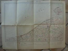 Carte Dunkerque Bruges 59 Nord Bergues GravelinesDixmude Roulers Nieuport Thielt Nevele Tronchennes - Cartes Topographiques
