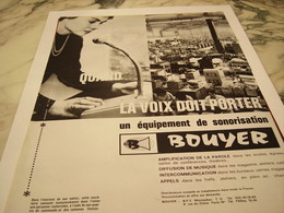 ANCIENNE PUBLICITE EQUIPEMENT DE SONORISATION BOUYER MONTAUBAN 1964 - Musik & Instrumente