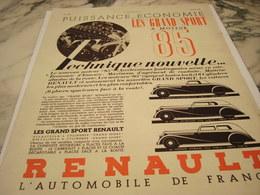 ANCIENNE PUBLICITE VOITURE LES GRAND SPORT A MOTEUR 85 RENAULT 1935 - Voitures