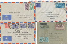 INDE LOT DE 4 X LETTRE AVION A ETUDIER - 1950-59 République