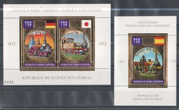 VV917 GUINEA ECUATORIAL GOLD TRAINS SPAIN GERMANY AND JAPAN 1KB+1BL MNH - Trains