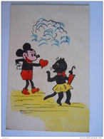 Verliefde Mickey Mouse Amoureux With Yellow Boots In Love Kat Chat Cat Plooi Plie Crease Oude Kaart Carte Ancienne Old C - Disney