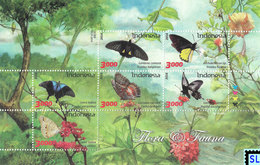 Indonesia Stamps 2017, Butterflies & Flowers, Flora, Fauna, MNH - Indonesia