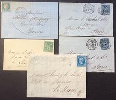 18 Eure Verneuil Sur Avre X 2 + Nonancourt + Louviers + Thiberville T 22 Et 60 Et Sage 25c Et 5c - Postmark Collection (Covers)