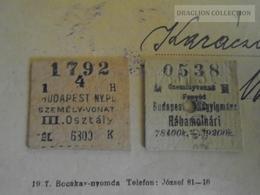 D163319  Lot Of 2 Old Railway Tickets  Train Hungary Rábamolnári Nagyigmánd  Monor Vácz 1925 - Transportation Tickets