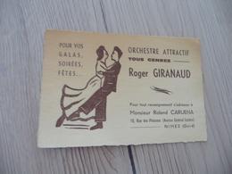 Musique Carte De Visite CDV Orchestre Roger Giranaud N^mes Gard Orchestre Bals Contact Caruena - Musique & Instruments