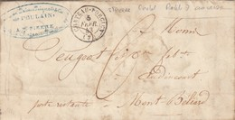 LETTRE 1843. ARDENNES. DE ST PIERRE PRES CHATEAU-PORCIEN. POUR AUDINCOURT POSTE RESTANTE MONTBELIARD. TAXE PLUME 6 - 1801-1848: Precursors XIX