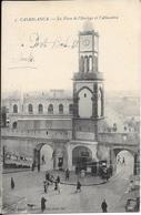 Cpa Casablanca Maroc , Ww1 , La Place De L'horloge Et L'Alhambra , écrite 1915 - Casablanca
