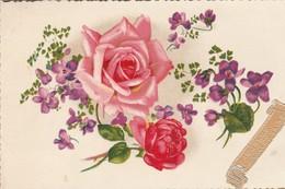 Anniversaire : Heureux Anniversaire : Fleurs - Roses Et Violettes ( Illustrateur à Définir ) - Cumpleaños