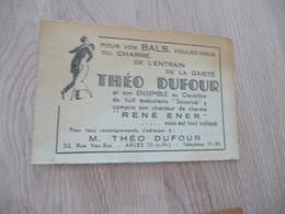 Musique Carte De Visite CDV Orchestre Théo Dufour René Ener Bals Arles Sur Rhône - Musique & Instruments
