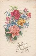 Anniversaire : Heureux Anniversaire : Fleurs Avec Paillettes - Roses Et Lilas ( Illustrateur à Définir ) - Cumpleaños