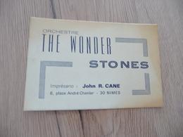 Musique Carte De Visite CDV Orchestre The Wonder Stones John Cane Imprésario Nîmes Gard - Musique & Instruments