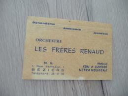 Musique Carte De Visite CDV Orchestre Les Frères Renaud Béziers Hérault - Musique & Instruments