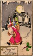 """PERE NOEL EN RELIEF  ,DEPART POUR LA TOURNEE ,""""HEUREUX NOEL EN CE BEAU JOUR  """"  REF 59789A - Santa Claus"""