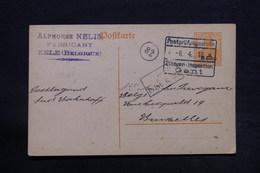 BELGIQUE - Cachet D 'étapes Sur Entier Postal De Zele Pour Bruxelles En 1917  - L 28170 - [OC26/37] Staging Zone