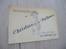 Musique Carte De Visite CDV Orchestre Christian Et Ses Rythmes Jazz Béziers Hérault - Musique & Instruments