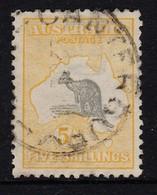 Australia 1918 Kangaroo 5/- 3rd Wmk Used - 'Weeping Kangaroo' - Used Stamps